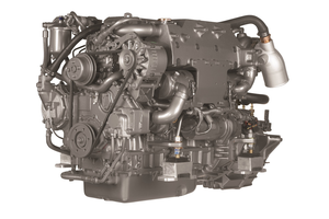 Yanmar 4LHA, 190-240 HP, watercooled diesel engine.